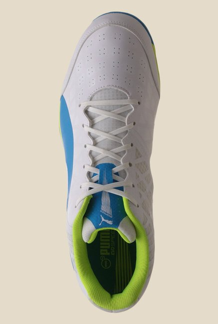 Buy Puma evoSPEED Spike 1.4 White   Blue Cricket Shoes for Men at ... 8f04fd900