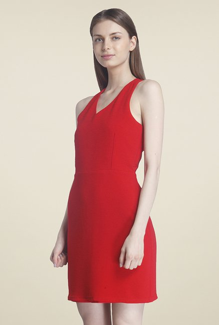 Only Red Textured Dress