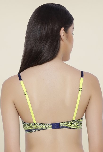 Amante Navy & Lime Padded Bra