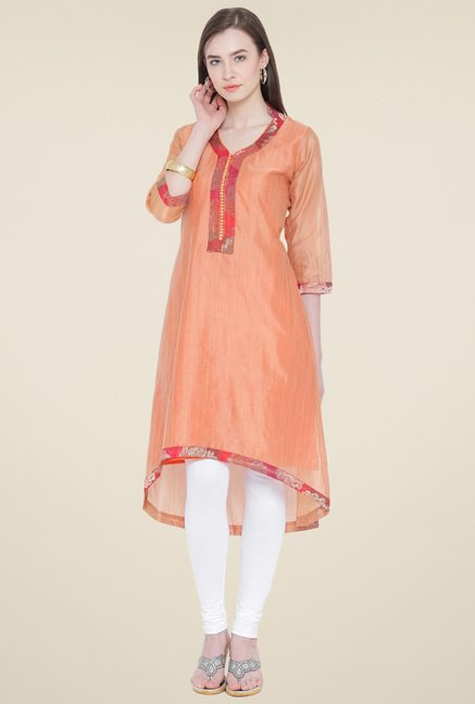 Aujjessa Brown Solid Kurta