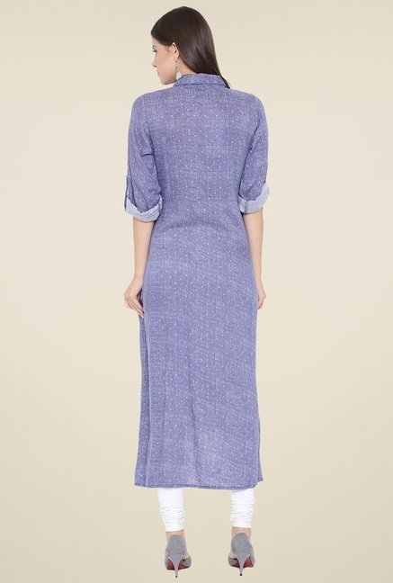 Aujjessa Denim Blue Printed Kurta