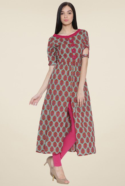 Aujjessa Red Printed Kurta