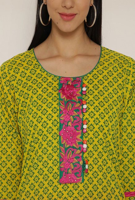 Aujjessa Yellow & Green Printed Kurta