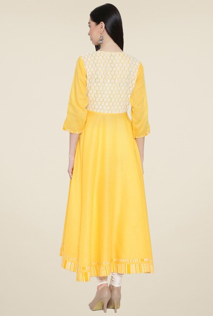 Aujjessa Yellow Solid Kurta