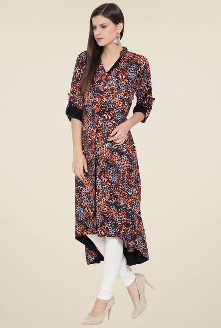 Aujjessa Black & Orange Printed Kurta