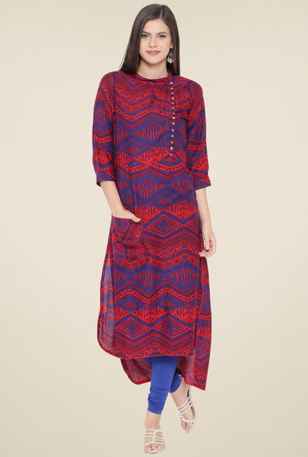 Aujjessa Red & Blue Printed Print Kurta