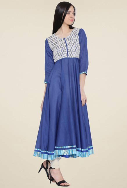 Aujjessa Royal Blue Solid Kurta
