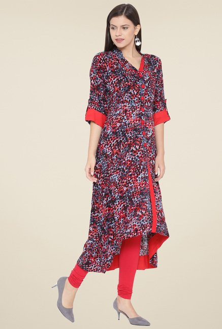 Aujjessa Black & Red Printed Kurta