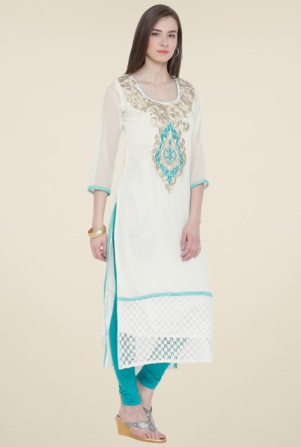 Aujjessa Off White Embroidered Kurta