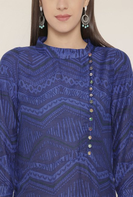 Aujjessa Royal Blue Printed Print Kurta