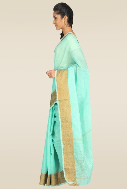 Pavecha Blue Banarasi Cotton Silk Zari Saree