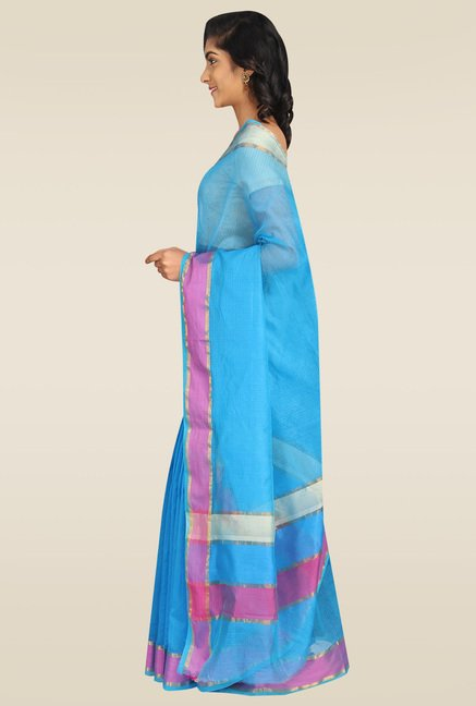 Pavecha Blue Banarasi Saree with Blouse