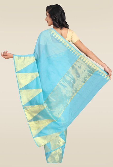 Pavecha Blue Banarasi Cotton Silk Zari Saree with Blouse