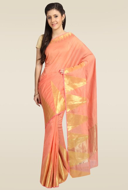 Pavecha Orange Banarasi Silk Saree