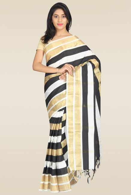 Pavecha Black Striped Banarasi Saree with Blouse