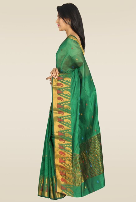Pavecha Green Banarasi Gold Zari Saree