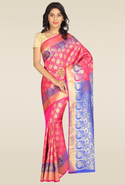 Pavecha Pink Banarasi Cotton Silk Gold Zari Saree