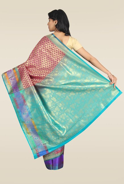 Pavecha Pink Banarasi Cotton Zari Silk Saree
