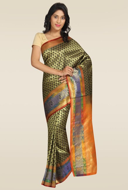 Pavecha Green Banarasi Cotton Silk Gold Zari Saree