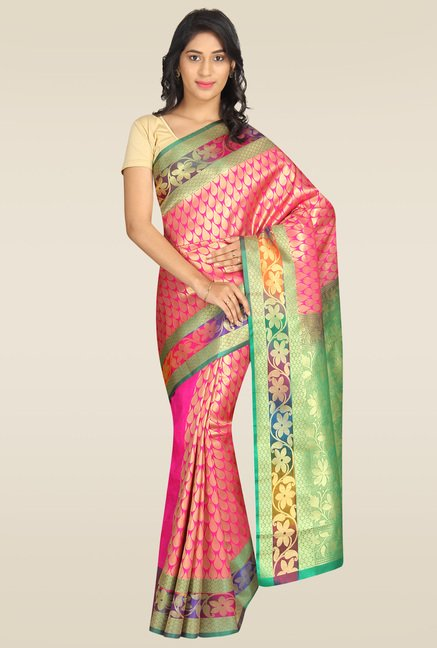 Pavecha Pink Cotton Silk Zari Saree with Blouse