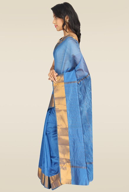 Pavecha Blue Banarasi Silk Gold Zari Saree with Blouse