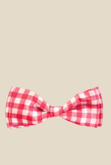 0bf01c1d87db Buy Blacksmith Red Gingham Design Satin Bow Tie For Men Online ...