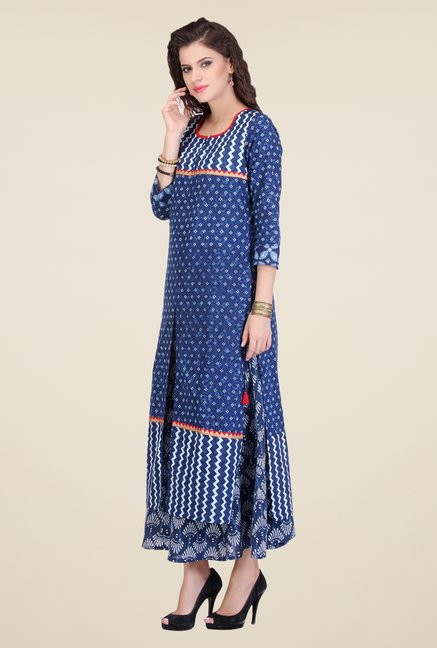 Varanga Blue & Navy Printed Kurta With Palazzo