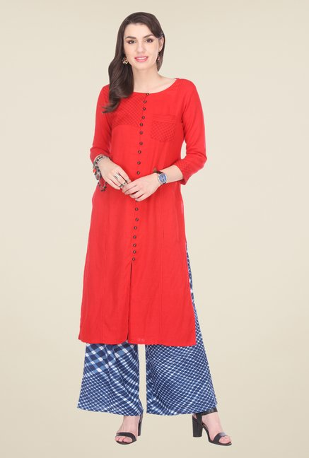 Varanga Red & Blue Embroidered Kurta With Palazzo