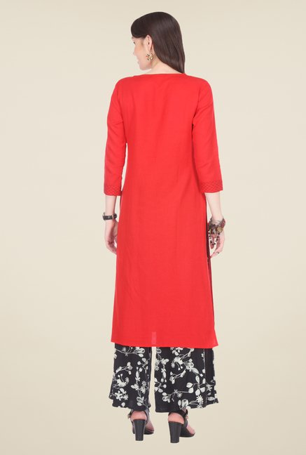 Varanga Red & Black Embroidered Kurta With Palazzo