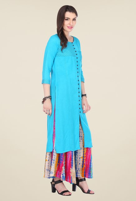 Varanga Sky Blue Embroidered Kurta With Palazzo