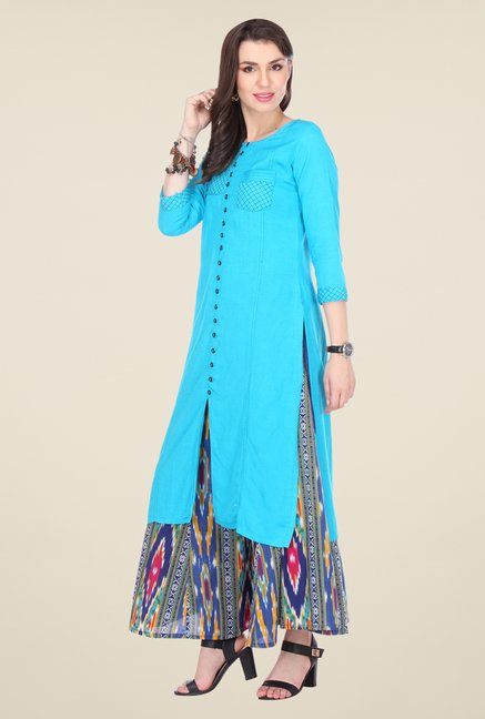 Varanga Sky Blue & Navy Embroidered Kurta With Palazzo