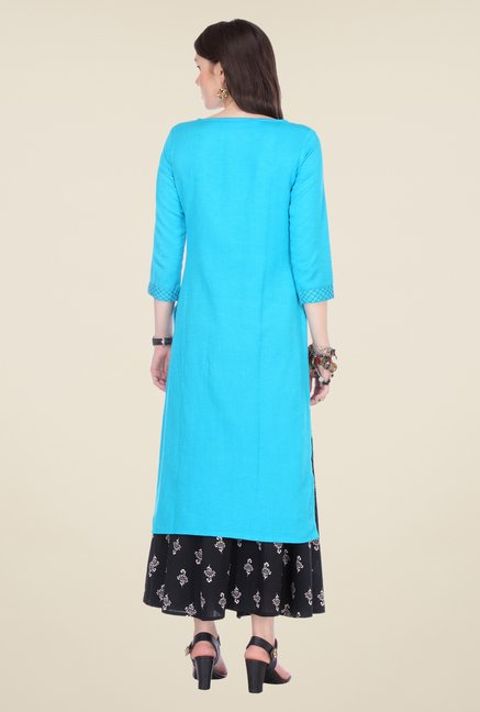 Varanga Sky Blue & Black Embroidered Kurta With Palazzo