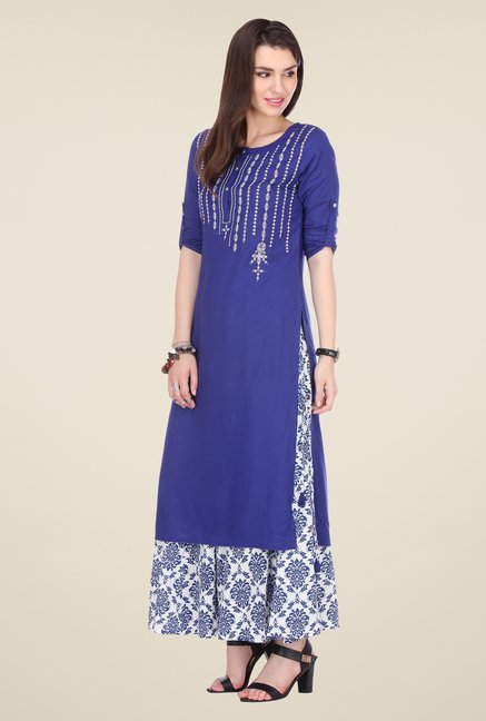 Varanga Blue & White Embroidered Kurta With Palazzo