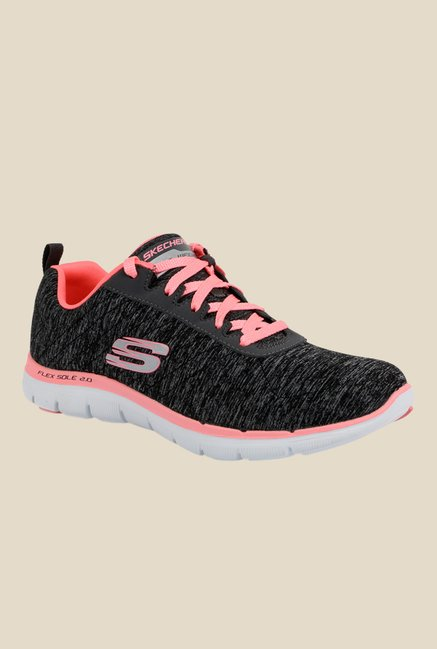 online store 29556 f0e85 Buy Skechers Flex Appeal 2.0 Black   Pink Running Shoes for Women at Best  Price   Tata CLiQ