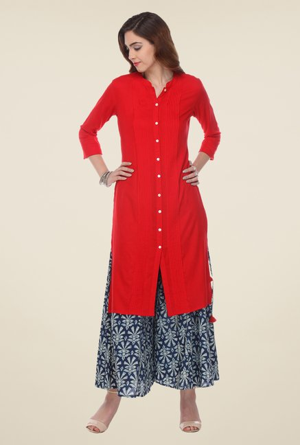 Varanga Red & Blue Solid Kurta With Palazzo