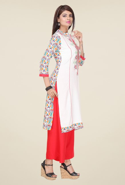 Varanga White & Red Embroidered Kurta With Palazzo
