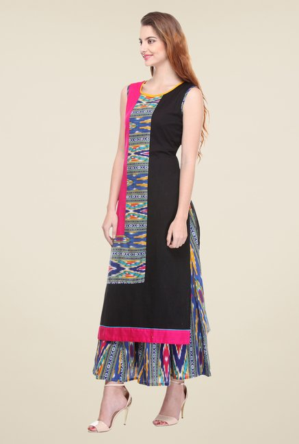 Varanga Black & Blue Printed Kurta With Palazzo