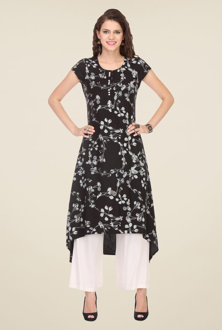 Varanga Black & Cream Printed Kurta With Palazzo