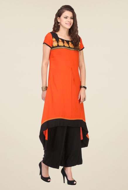 Varanga Orange & Black Embroidered Kurta With Palazzo