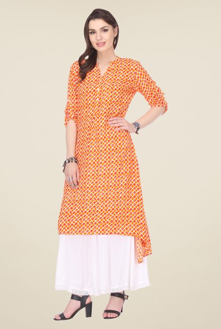 Varanga Orange & White Printed Kurta With Palazzo