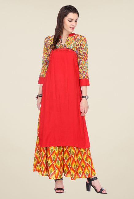 Varanga Red & Orange Printed Kurta With Palazzo