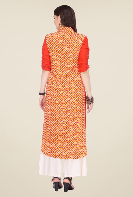 Varanga Orange & White Solid Kurta With Palazzo