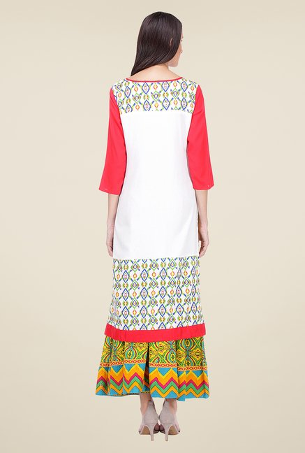 Varanga White & Yellow Printed Kurta With Palazzo
