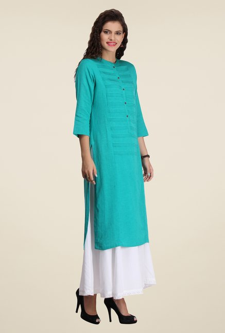 Varanga Teal & White Solid Kurta With Palazzo