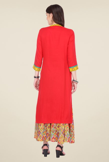 Varanga Red Embroidered Kurta With Palazzo