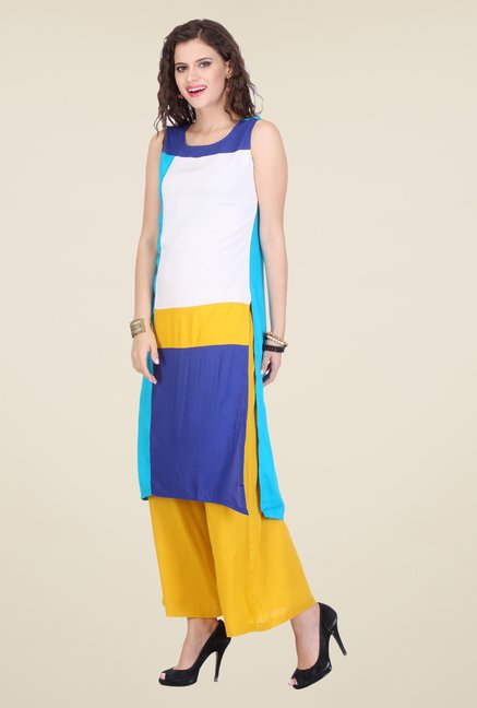 Varanga White & Yellow Solid Kurta With Palazzo
