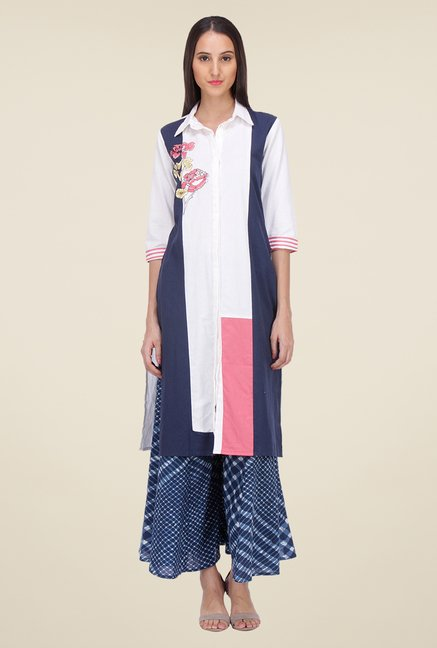 Varanga White & Blue Embroidered Kurta With Palazzo