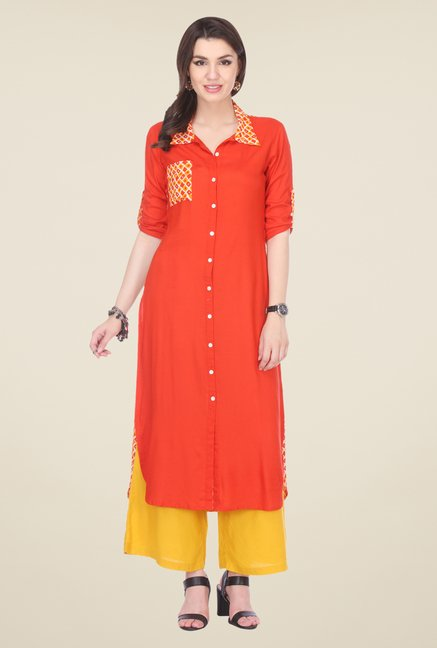 Varanga Orange & Mustard Solid Kurta With Palazzo