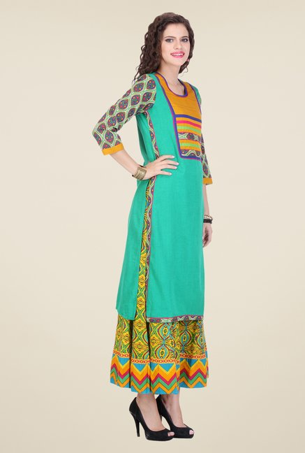 Varanga Teal & Yellow Printed Kurta With Palazzo