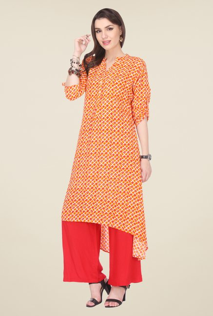 Varanga Orange & Coral Printed Kurta With Palazzo